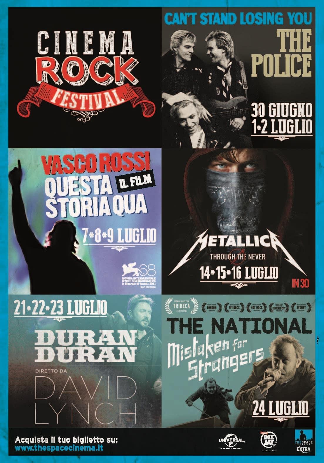 Nelle sale The Space Cinema  a luglio parte il CINEMA ROCK FESTIVAL