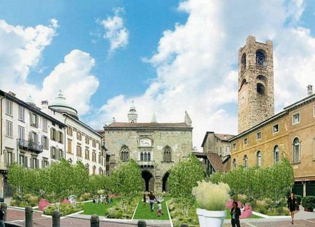 """Giardino in Piazza a Bergamo Alta con """"I Maestri del paesaggio"""""""