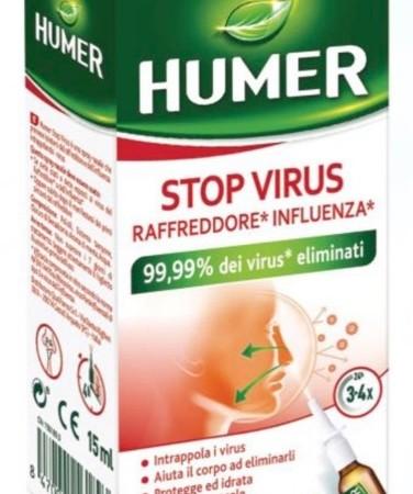 Humer Stop Virus spray nasale per alleviare i sintomi di influenza e raffreddore