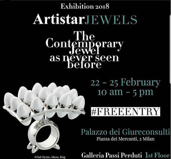 Mostra di gioielli contemporanei Artistar Jewels 2018 a Palazzo dei Giureconsulti a Milano