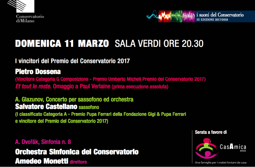 Al Conservatorio di Milano concerto solidale per Casamica onlus