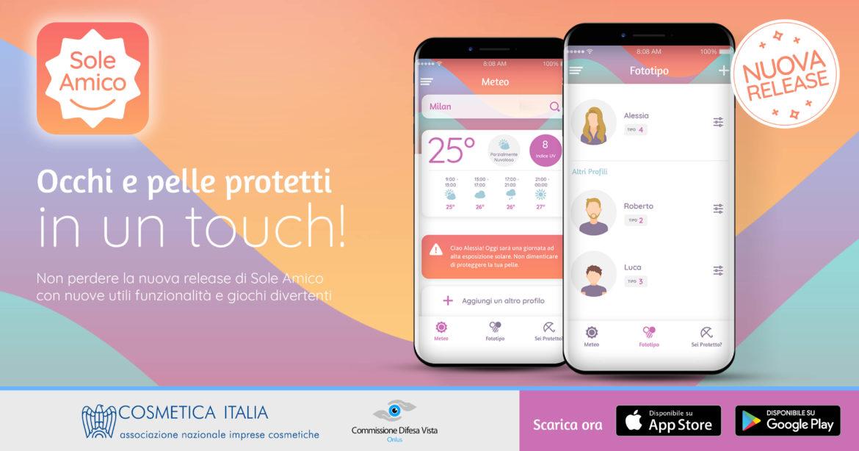 Nuova versione dell'app Sole Amico, con tanti consigli sull'esposizione al sole