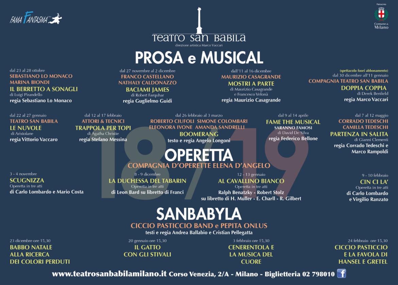 La Stagione 2018-2019 del Teatro San Babila
