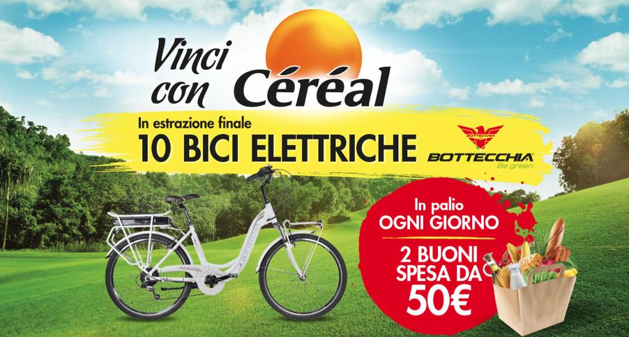 """Concorso """"Vinci con Céréal"""", per vincere buoni spesa giornalieri e bici elettriche Bottecchia"""