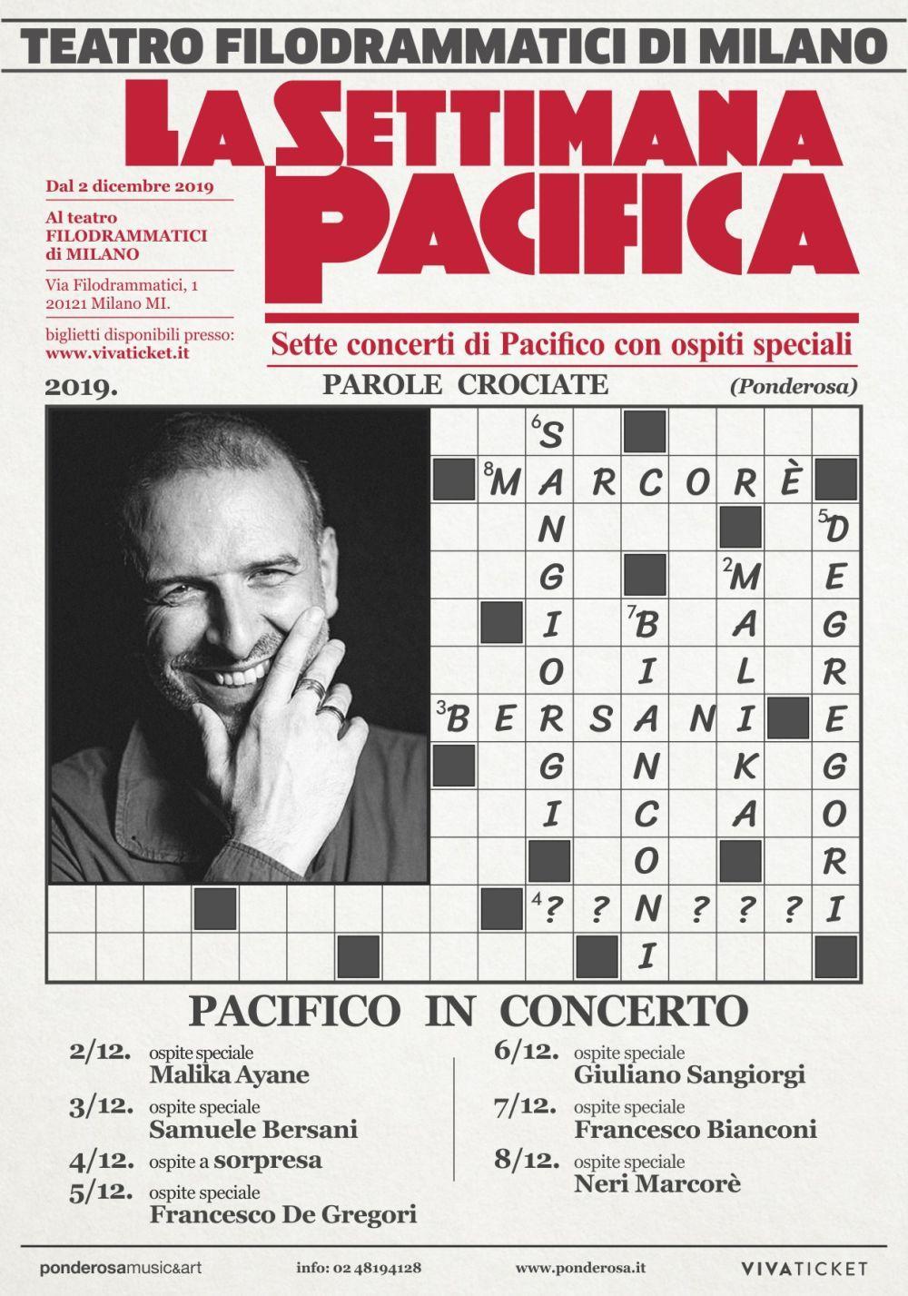 Teatro Filodrammatici: 7 concerti di PACIFICO con 7 ospiti speciali