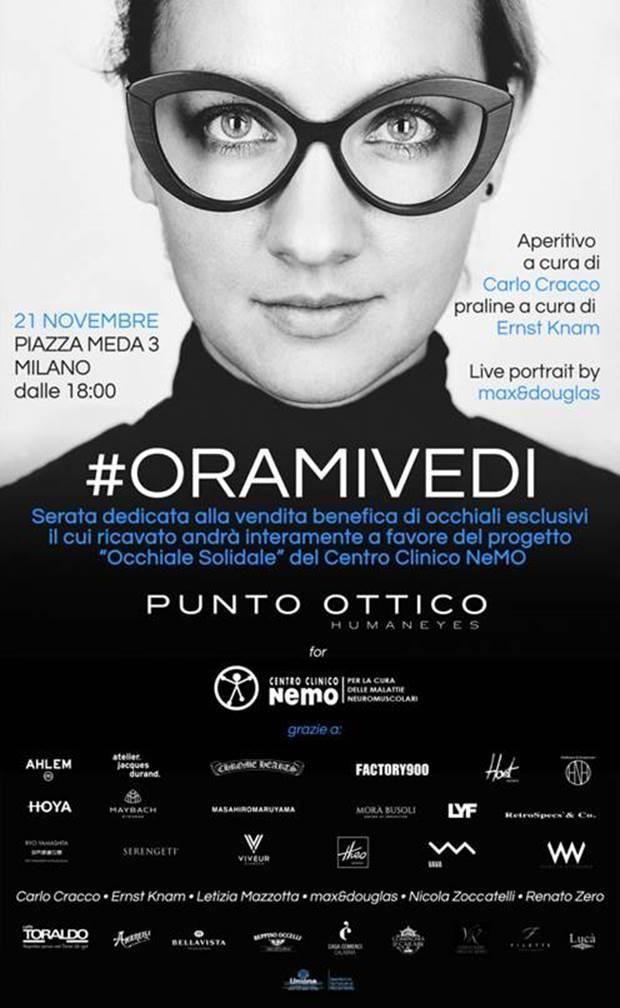 Giovedì 21 novembre al PUNTO OTTICO di Milano evento benefico #ORAMIVEDI