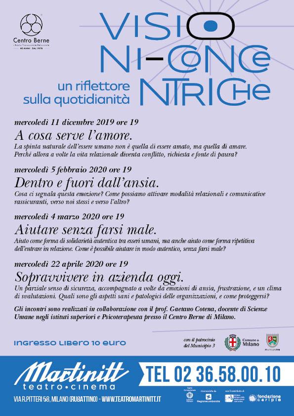 Teatro Martinitt: secondo appuntamento con le conferenze di psicologia di VISIONI CONCENTRICHE