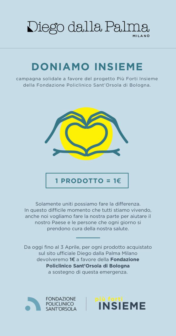 COVID-19: Diego dalla Palma Milano appoggia il progetto Più Forti Insieme della Fondazione Policlinico San'Orsola di Bologna